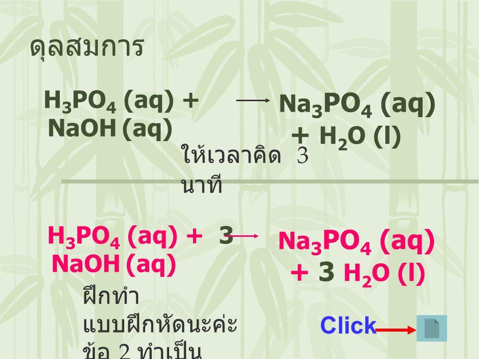 H 3 PO 4 (aq) + NaOH (aq) ดุลสมการ Na 3 PO 4 (aq) + H 2 O (l) ให้เวลาคิด 3 นาที H 3 PO 4 (aq) + 3 NaOH (aq) Na 3 PO 4 (aq) + 3 H 2 O (l) ฝึกทำ แบบฝึกห