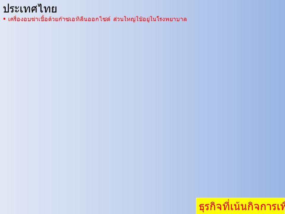 ประเทศไทย  เครื่องอบฆ่าเชื้อด้วยก๊าซเอทิลีนออกไซด์ ส่วนใหญ่ใช้อยู่ในโรงพยาบาล ธุรกิจที่เน้นกิจการเพื่อสังคม