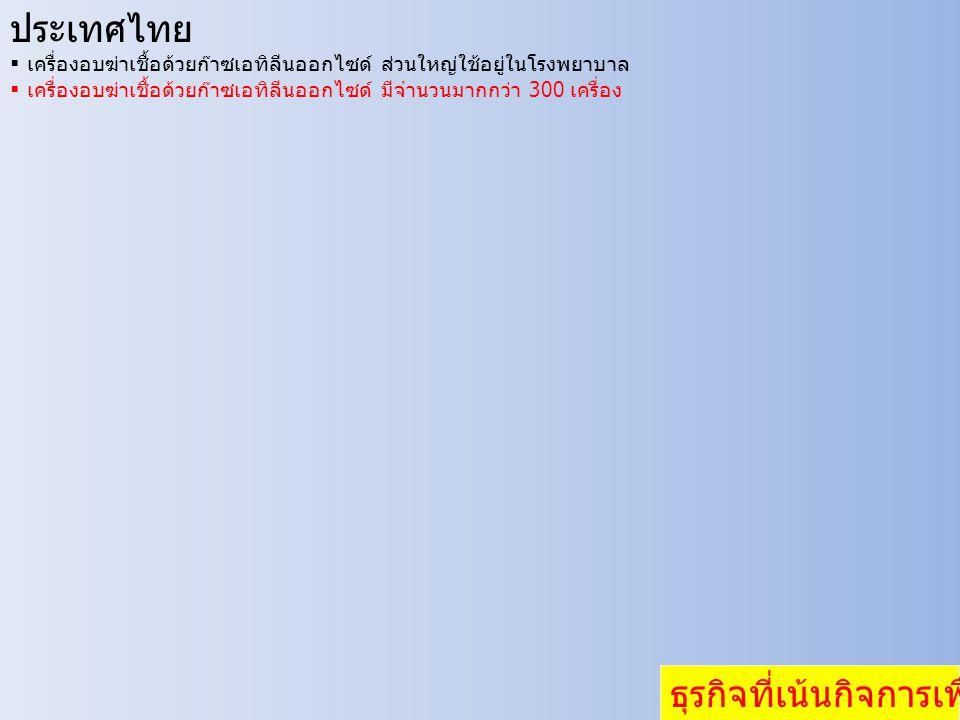 ประเทศไทย  เครื่องอบฆ่าเชื้อด้วยก๊าซเอทิลีนออกไซด์ ส่วนใหญ่ใช้อยู่ในโรงพยาบาล  เครื่องอบฆ่าเชื้อด้วยก๊าซเอทิลีนออกไซด์ มีจำนวนมากกว่า 300 เครื่อง ธุรกิจที่เน้นกิจการเพื่อสังคม