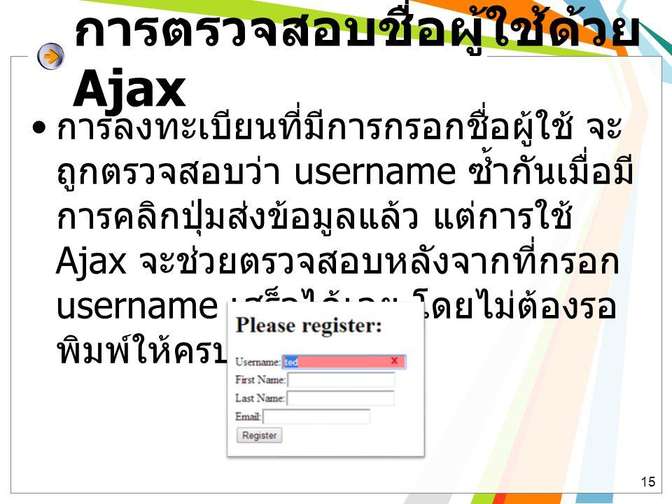 การตรวจสอบชื่อผู้ใช้ด้วย Ajax • การลงทะเบียนที่มีการกรอกชื่อผู้ใช้ จะ ถูกตรวจสอบว่า username ซ้ำกันเมื่อมี การคลิกปุ่มส่งข้อมูลแล้ว แต่การใช้ Ajax จะช่วยตรวจสอบหลังจากที่กรอก username เสร็จได้เลย โดยไม่ต้องรอ พิมพ์ให้ครบ 15