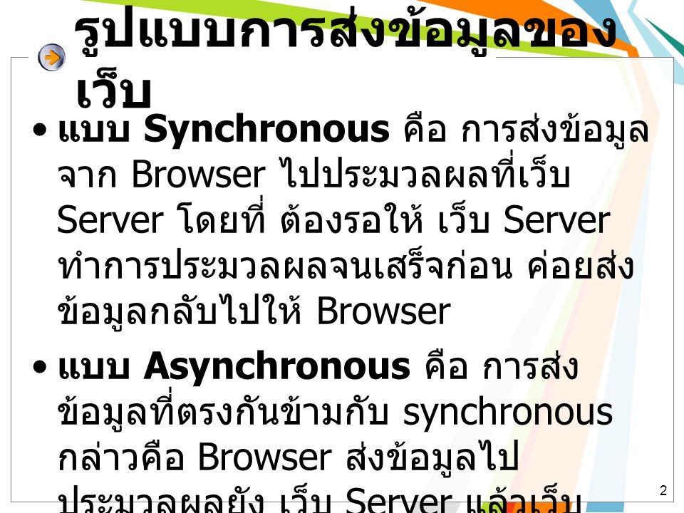 รูปแบบการส่งข้อมูลของ เว็บ • แบบ Synchronous คือ การส่งข้อมูล จาก Browser ไปประมวลผลที่เว็บ Server โดยที่ ต้องรอให้ เว็บ Server ทำการประมวลผลจนเสร็จก่อน ค่อยส่ง ข้อมูลกลับไปให้ Browser • แบบ Asynchronous คือ การส่ง ข้อมูลที่ตรงกันข้ามกับ synchronous กล่าวคือ Browser ส่งข้อมูลไป ประมวลผลยัง เว็บ Server แล้วเว็บ Server ทำการประมวลผลแล้วส่งกับมา ที่เว็บ Client โดยไม่ต้องรอให้ ประมวลผลจนเสร็จ 2