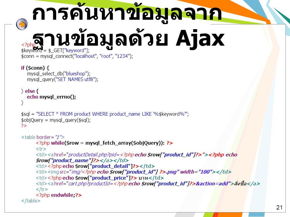 การค้นหาข้อมูลจาก ฐานข้อมูลด้วย Ajax 21 <?php $keyword = $_GET[ keyword ]; $conn = mysql_connect( localhost , root , 1234 ); if ($conn) { mysql_select_db( blueshop ); mysql_query( SET NAMES utf8 ); } else { echo mysql_errno(); } $sql = SELECT * FROM product WHERE product_name LIKE %$keyword% ; $objQuery = mysql_query($sql); ?> >.png width= 100 > บาท &action=add >สั่งซื้อ
