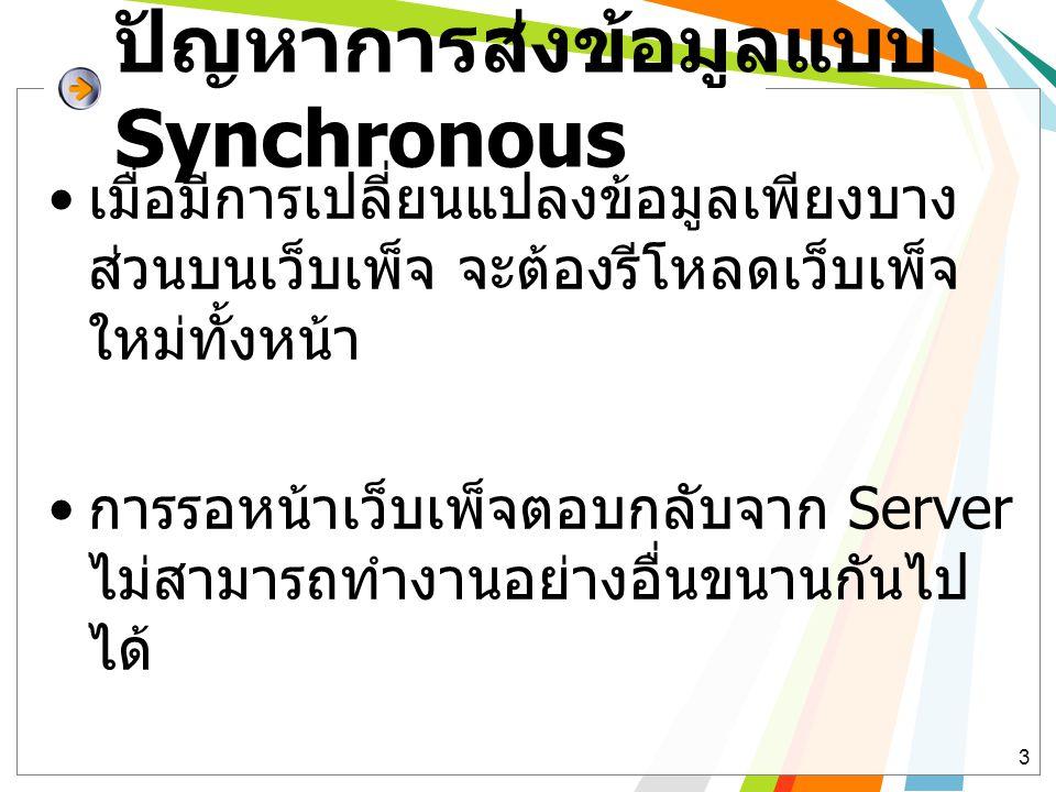ปัญหาการส่งข้อมูลแบบ Synchronous • เมื่อมีการเปลี่ยนแปลงข้อมูลเพียงบาง ส่วนบนเว็บเพ็จ จะต้องรีโหลดเว็บเพ็จ ใหม่ทั้งหน้า • การรอหน้าเว็บเพ็จตอบกลับจาก