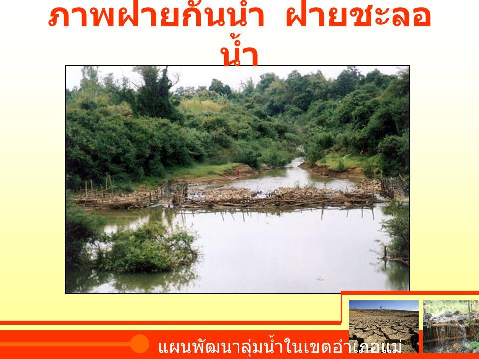 ภาพฝายกั้นน้ำ ฝายชะลอ น้ำ แผนพัฒนาลุ่มน้ำในเขตอำเภอแม่ จัน