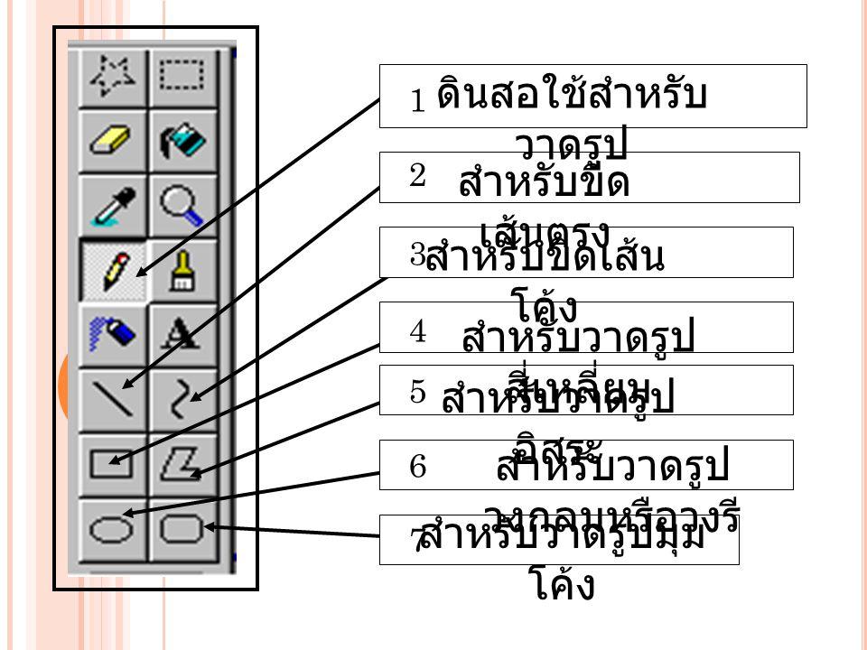 ดินสอใช้สำหรับ วาดรูป สำหรับขีด เส้นตรง สำหรับขีดเส้น โค้ง สำหรับวาดรูป สี่เหลี่ยม สำหรับวาดรูป อิสระ สำหรับวาดรูป วงกลมหรือวงรี สำหรับวาดรูปมุม โค้ง 1 2 3 4 5 6 7