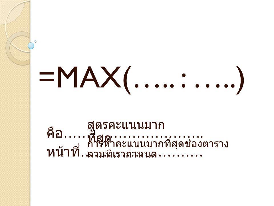 คือ ………………………….หน้าที่ ……………………… =MAX(…..