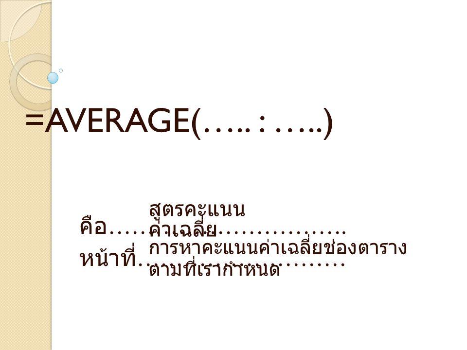 คือ ………………………….หน้าที่ ……………………… =AVERAGE(…..