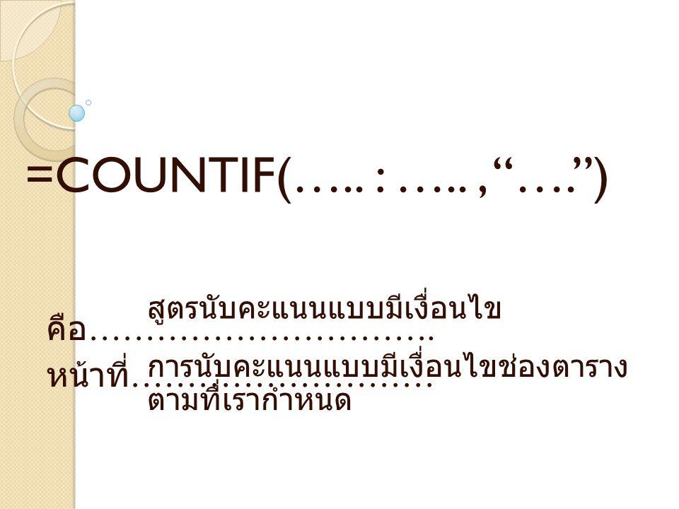 คือ ………………………….หน้าที่ ……………………… =COUNTIF(…..