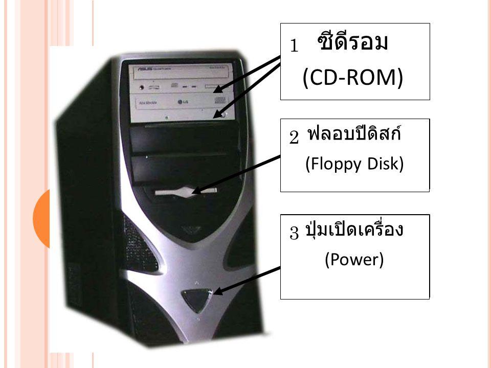 ซีดีรอม (CD-ROM) ฟลอบปีดิสก์ (Floppy Disk) ปุ่มเปิดเครื่อง (Power) 1 2 3