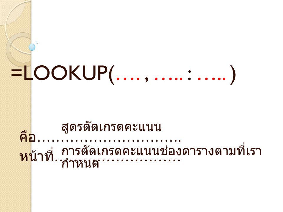 คือ ………………………….หน้าที่ ……………………… =LOOKUP(…., ….. : …..