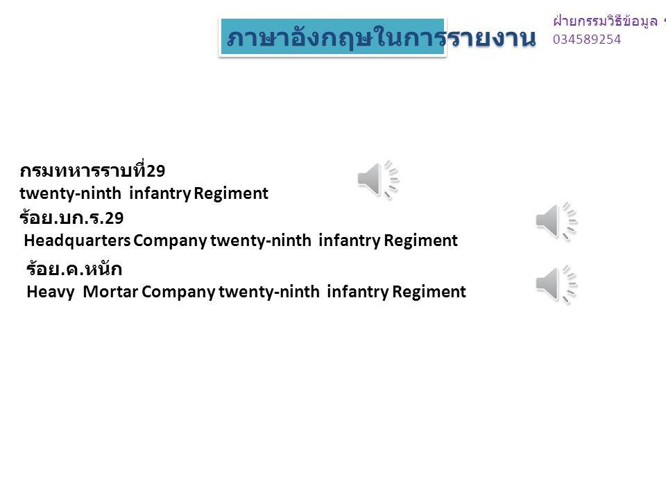 กรมทหารราบที่ 29 twenty-ninth infantry Regiment ร้อย.