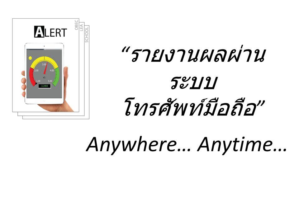 """"""" รายงานผลผ่าน ระบบ โทรศัพท์มือถือ """" Anywhere… Anytime…"""