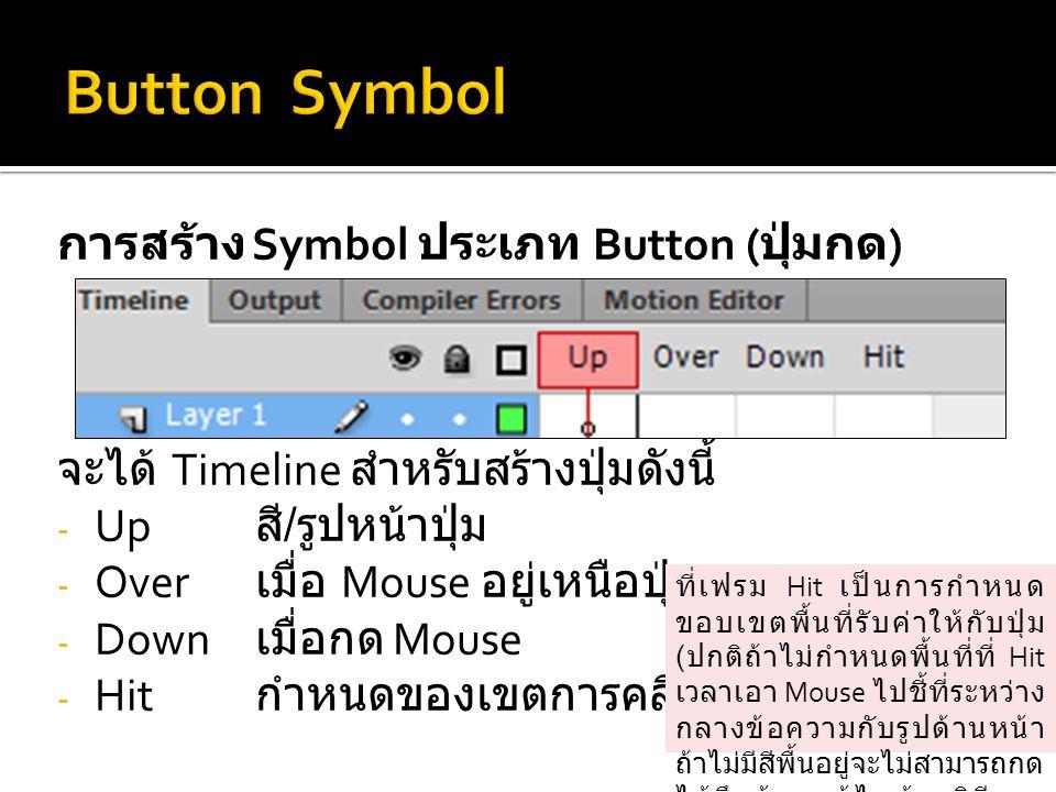 การสร้าง Symbol ประเภท Button ( ปุ่มกด ) จะได้ Timeline สำหรับสร้างปุ่มดังนี้ - Up สี / รูปหน้าปุ่ม - Over เมื่อ Mouse อยู่เหนือปุ่ม - Down เมื่อกด Mouse - Hit กำหนดของเขตการคลิก Mouse ที่เฟรม Hit เป็นการกำหนด ขอบเขตพื้นที่รับค่าให้กับปุ่ม ( ปกติถ้าไม่กำหนดพื้นที่ที่ Hit เวลาเอา Mouse ไปชี้ที่ระหว่าง กลางข้อความกับรูปด้านหน้า ถ้าไม่มีสีพื้นอยู่จะไม่สามารถกด ได้จึงต้องแก้ไขด้วยวิธีการ กำหนดพื้นที่ที่ Hit)
