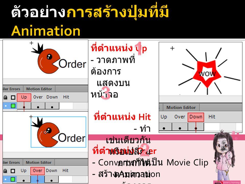 ที่ตำแหน่ง Over - Convert ภาพเป็น Movie Clip - สร้าง Animation ที่ตำแหน่ง Up - วาดภาพที่ ต้องการ แสดงบน หน้าจอ ที่ตำแหน่ง Hit - ทำ เช่นเดียวกัน หรือเปลี่ยน ภาพก็ได้ ตามความ ต้องการ