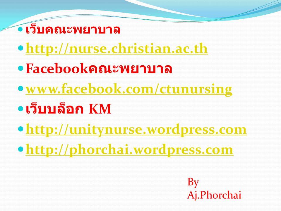  เว็บคณะพยาบาล  http://nurse.christian.ac.th http://nurse.christian.ac.th  Facebook คณะพยาบาล  www.facebook.com/ctunursing www.facebook.com/ctunur