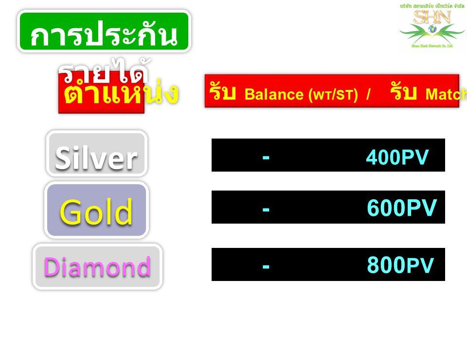 ตำแหน่ง รับ Balance ( WT / ST ) / รับ Matching - - 600PV - 800 PV 400PV การประกัน รายได้ SilverSilver GoldGold DiamondDiamond