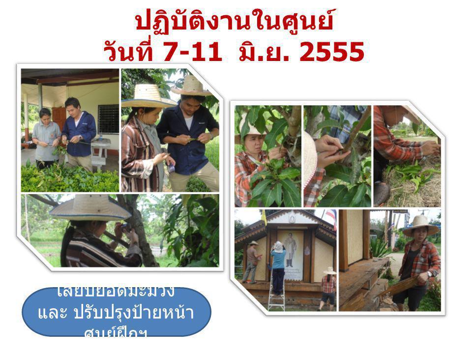 ปฏิบัติงานในพื้นที่ ร่วมจัดเตรียมสถานที่เพื่อทำบุญสืบชะตาโครงการฯและ ร่วมทำบุญ ในวันที่ 27 มิถุนายน 2555
