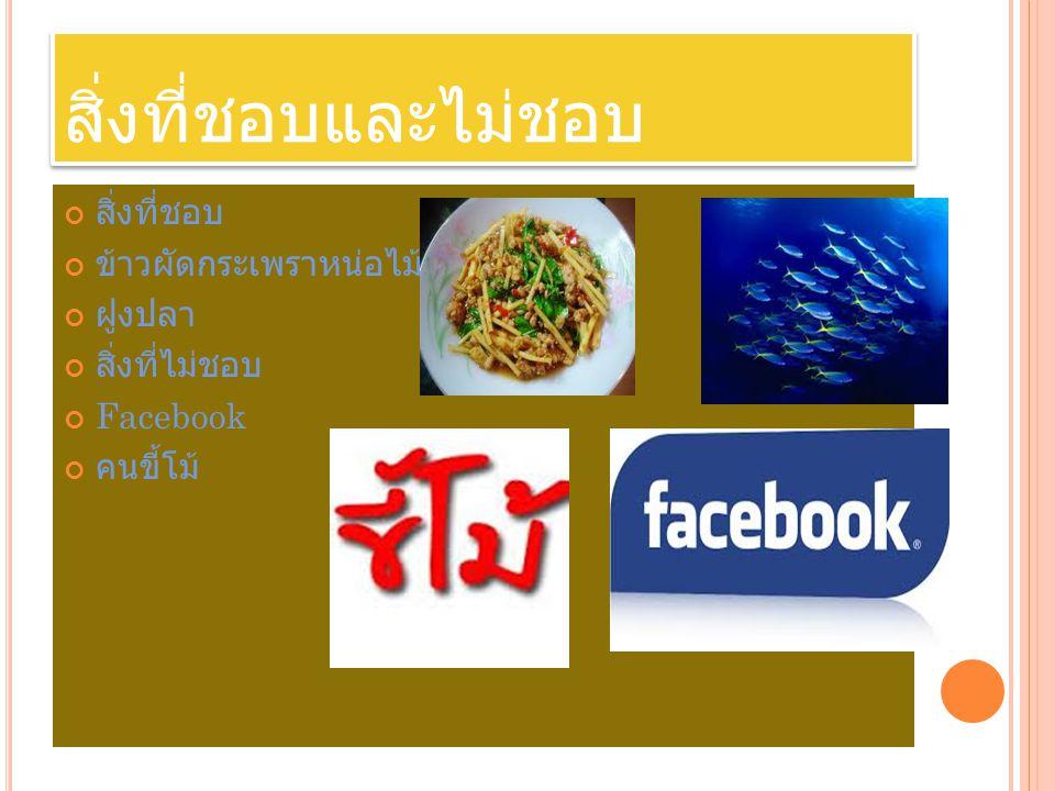 สิ่งที่ชอบและไม่ชอบ สิ่งที่ชอบ ข้าวผัดกระเพราหน่อไม้ ฝูงปลา สิ่งที่ไม่ชอบ Facebook คนขี้โม้