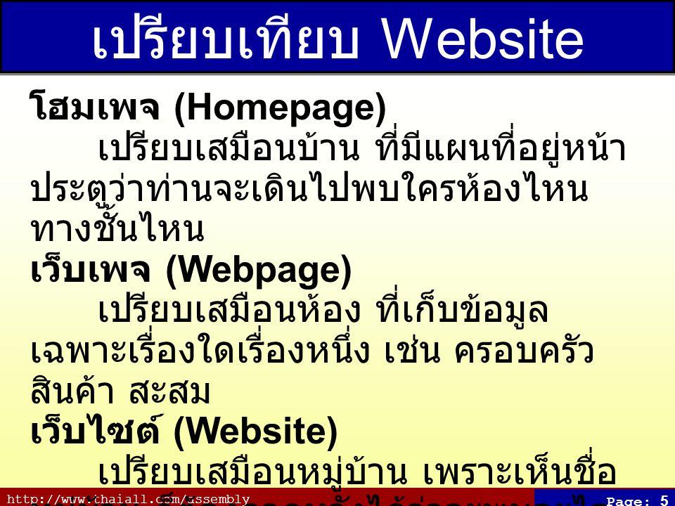 http://www.thaiall.com/assembly Page: 5 เปรียบเทียบ Website โฮมเพจ (Homepage) เปรียบเสมือนบ้าน ที่มีแผนที่อยู่หน้า ประตูว่าท่านจะเดินไปพบใครห้องไหน ทา