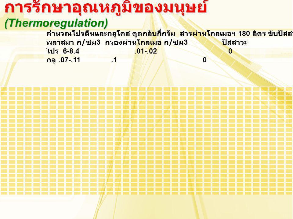 คำนวณโปรตีนและกลูโคส ดูดกลับกี่กรัม สารผ่านโกลเมอฯ 180 ลิตร ขับปัสสาวะวันละ 1.5 ลิตร พลาสมา ก / ซม 3 กรองผ่านโกลเมอ ก / ซม 3 ปัสสาวะ โปร 6-8.4.01-.02