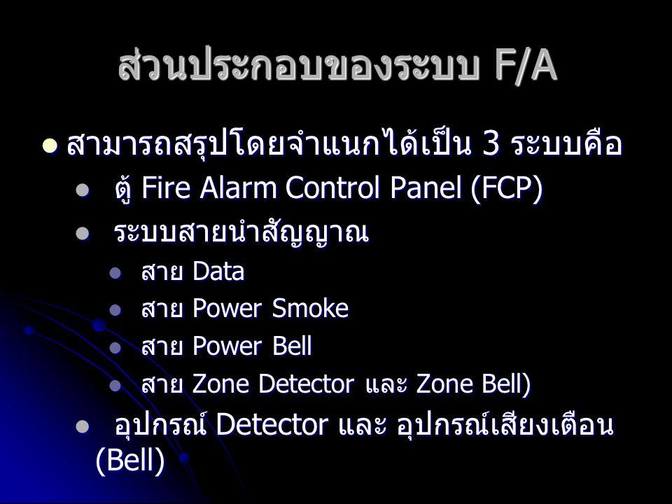 ส่วนประกอบของระบบ F/A  สามารถสรุปโดยจำแนกได้เป็น 3 ระบบคือ  ตู้ Fire Alarm Control Panel (FCP)  ระบบสายนำสัญญาณ  สาย Data  สาย Power Smoke  สาย Power Bell  สาย Zone Detector และ Zone Bell)  อุปกรณ์ Detector และ อุปกรณ์เสียงเตือน (Bell)