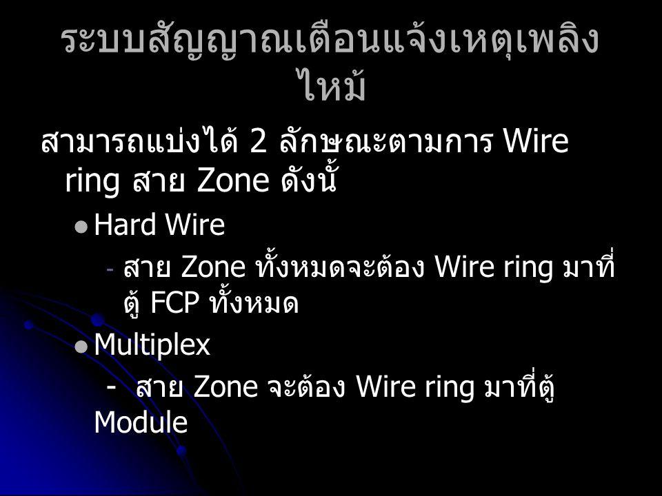 ระบบสัญญาณเตือนแจ้งเหตุเพลิง ไหม้ สามารถแบ่งได้ 2 ลักษณะตามการ Wire ring สาย Zone ดังนั้   Hard Wire - - สาย Zone ทั้งหมดจะต้อง Wire ring มาที่ ตู้ FCP ทั้งหมด   Multiplex - สาย Zone จะต้อง Wire ring มาที่ตู้ Module
