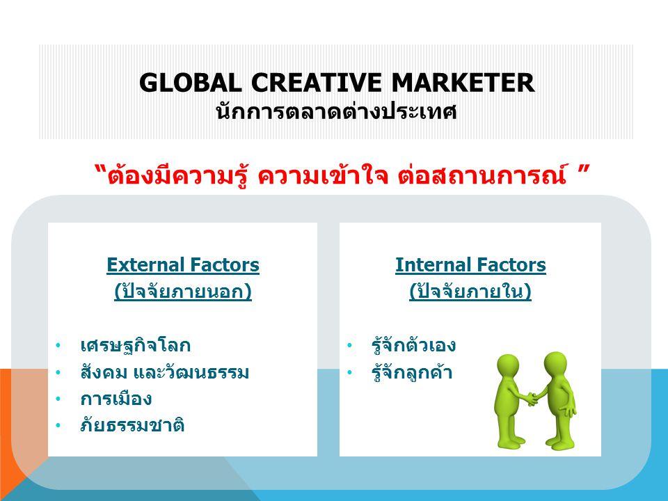 "External Factors (ปัจจัยภายนอก) • เศรษฐกิจโลก • สังคม และวัฒนธรรม • การเมือง • ภัยธรรมชาติ GLOBAL CREATIVE MARKETER นักการตลาดต่างประเทศ ""ต้องมีความรู"