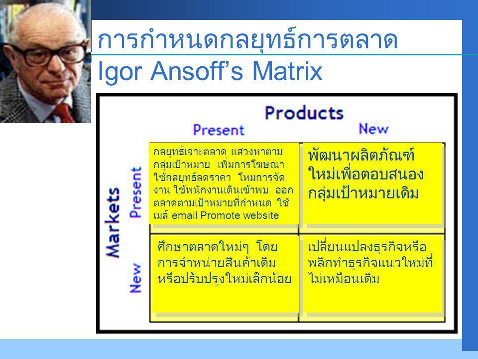 Company LOGO การกำหนดกลยุทธ์การตลาด Igor Ansoff's Matrix กลยุทธ์เจาะตลาด แสวงหาตาม กลุ่มเป้าหมาย เพิ่มการโฆษณา ใช้กลยุทธ์ลดราคา โหมการจัด งาน ใช้พนักงานเดินเข้าพบ ออก ตลาดตามเป้าหมายที่กำหนด ใช้ เมล์ email Promote website พัฒนาผลิตภัณฑ์ ใหม่เพื่อตอบสนอง กลุ่มเป้าหมายเดิม ศึกษาตลาดใหม่ๆ โดย การจำหน่ายสินค้าเดิม หรือปรับปรุงใหม่เล็กน้อย เปลี่ยนแปลงธุรกิจหรือ พลิกทำธุรกิจแนวใหม่ที่ ไม่เหมือนเดิม