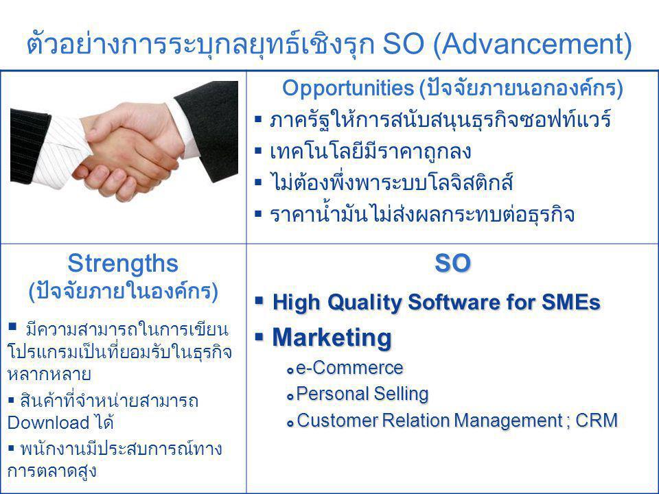 Company LOGO ตัวอย่างการระบุกลยุทธ์เชิงรุก SO (Advancement) Opportunities (ปัจจัยภายนอกองค์กร)  ภาครัฐให้การสนับสนุนธุรกิจซอฟท์แวร์  เทคโนโลยีมีราคาถูกลง  ไม่ต้องพึ่งพาระบบโลจิสติกส์  ราคาน้ำมันไม่ส่งผลกระทบต่อธุรกิจ Strengths (ปัจจัยภายในองค์กร)  มีความสามารถในการเขียน โปรแกรมเป็นที่ยอมรับในธุรกิจ หลากหลาย  สินค้าที่จำหน่ายสามารถ Download ได้  พนักงานมีประสบการณ์ทาง การตลาดสูงSO  High Quality Software for SMEs  Marketing  e-Commerce  Personal Selling  Customer Relation Management ; CRM