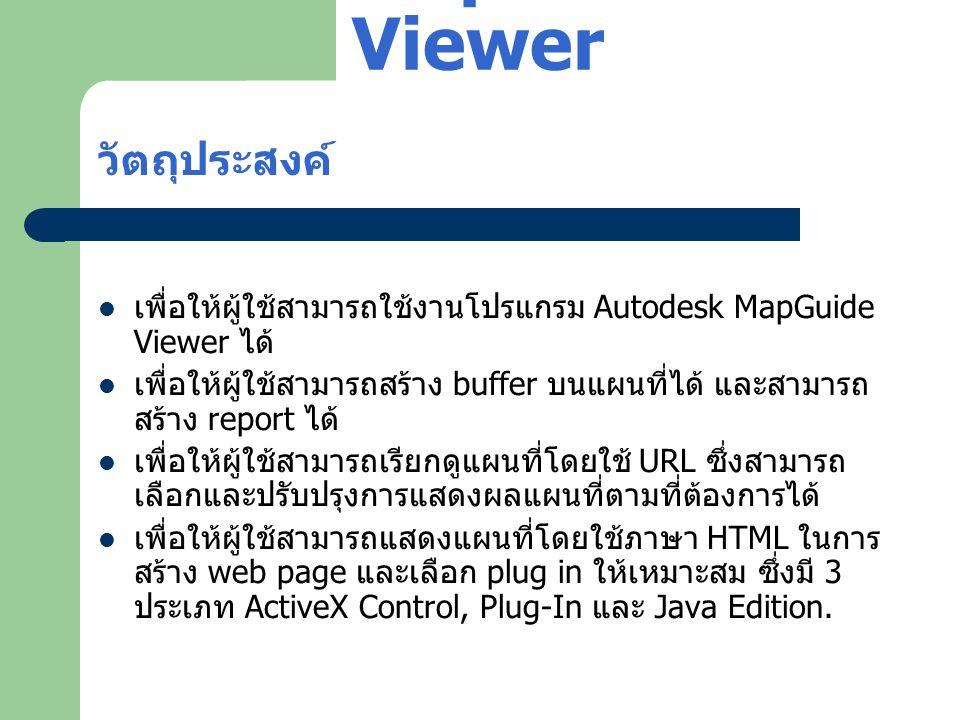 Autodesk MapGuide Viewer วัตถุประสงค์  เพื่อให้ผู้ใช้สามารถใช้งานโปรแกรม Autodesk MapGuide Viewer ได้  เพื่อให้ผู้ใช้สามารถสร้าง buffer บนแผนที่ได้