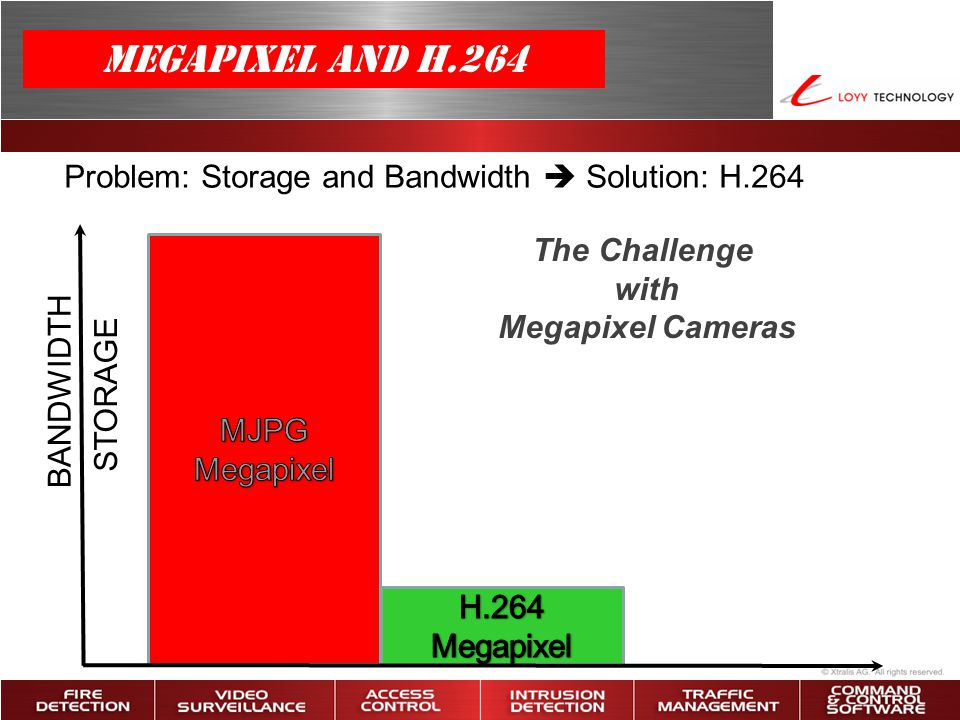 The Challenge with Megapixel Cameras Problem: Storage and Bandwidth  Solution: H.264 BANDWIDTH STORAGE Megapixel and H.264