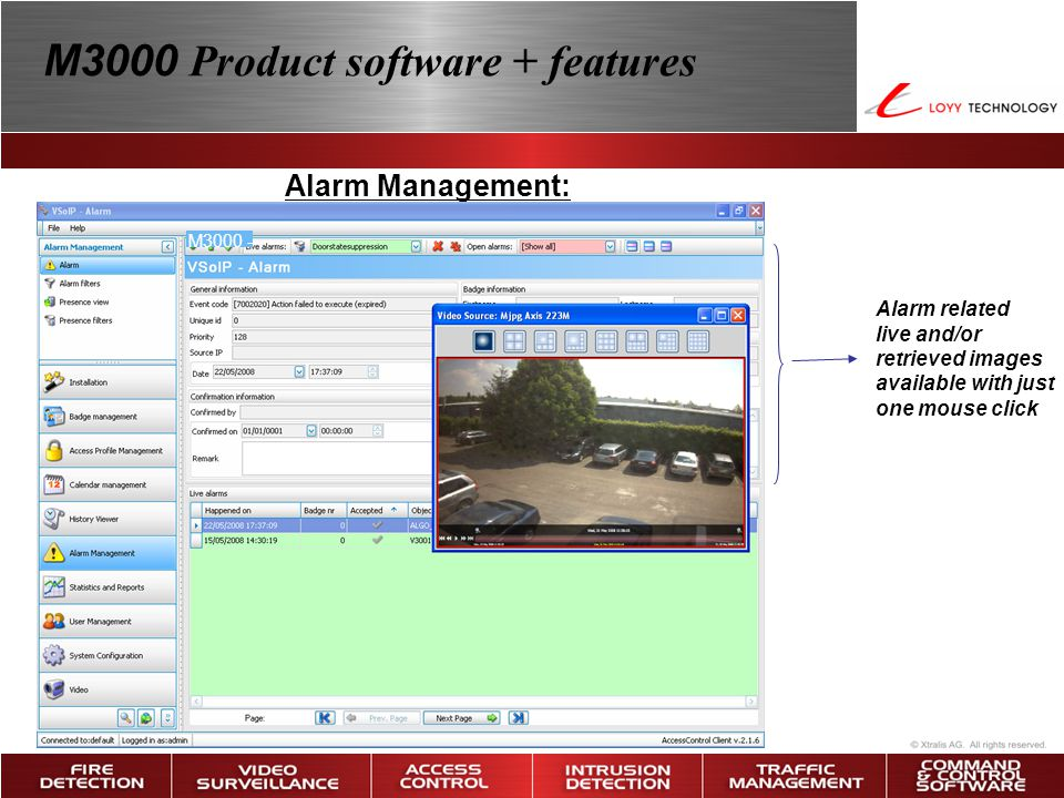 Alarm Management: Alarm related live and/or retrieved images available with just one mouse click M3000 Product software + features M3000 -