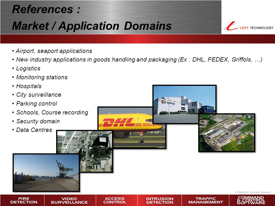 • Airport, seaport applications • New industry applications in goods handling and packaging (Ex : DHL, FEDEX, Griffols, …) • Logistics • Monitoring st