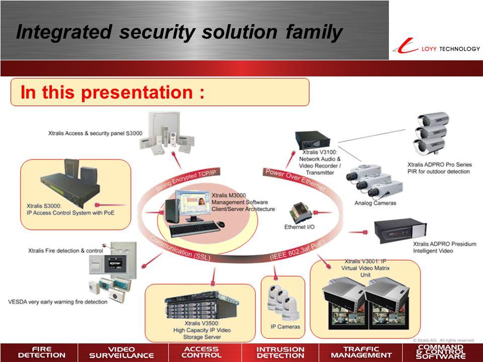 S3000 – V3000 – M3000 Complete configuration STRONG ENCRYPTED TCP/IP COMMUNICATION (SSL) V3500:High Capacity IP Video Storage Server V3001:IP Virtual Video Matrix Unit POWER OVER ETHERNET (IEEE 802.3af PoE) IP Cameras V3100:Network Audio & Video Recorder / Transmitter Analog Cameras M3000:M3000 Management Center