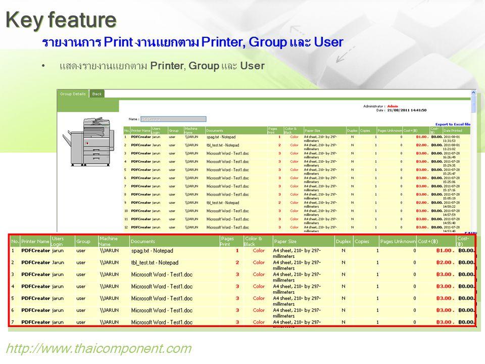 รายงานการ Print งานแยกตาม Printer, Group และ User •แสดงรายงานแยกตาม Printer, Group และ User http://www.thaicomponent.com Key feature