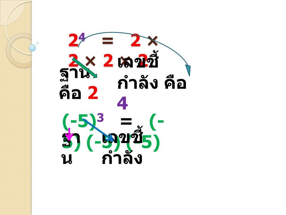 2 4 = 2 × 2 × 2 × 2 (-5) 3 = (- 5) (-5) (-5) ฐาน คือ 2 เลขชี้ กำลัง คือ 4 ฐา น เลขชี้ กำลัง
