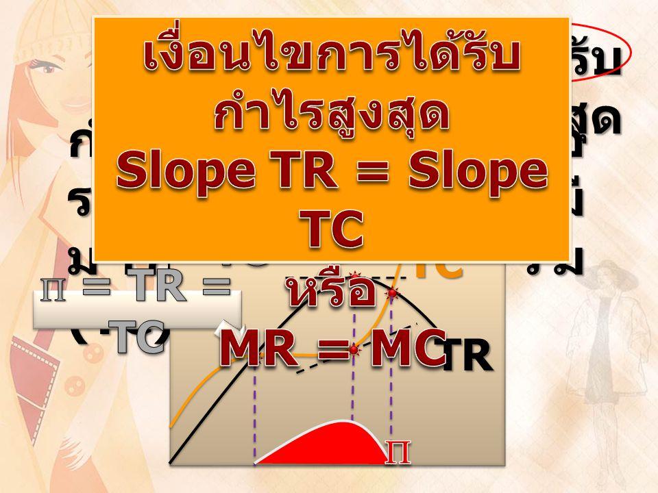 เงื่อนไขการได้รับ กำไรสูงสุด กำไรสูงสุดจะได้ต่อเมื่อ รายรับรวม (TR) มี มากกว่าต้นทุนรวม (TC) TC TR