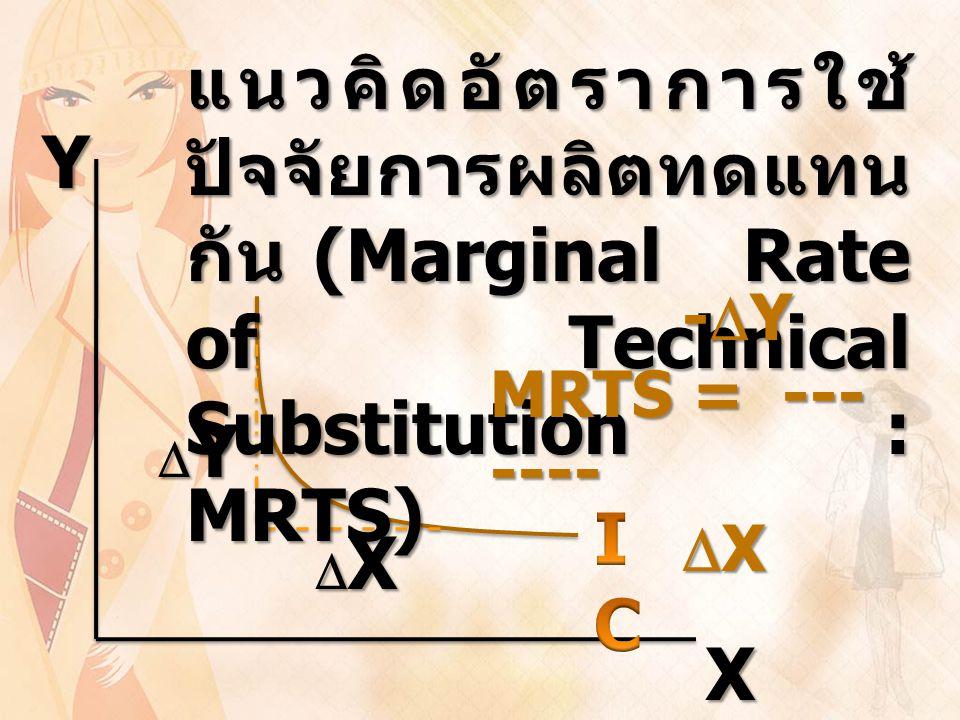 YX YYYY XXXX แนวคิดอัตราการใช้ ปัจจัยการผลิตทดแทน กัน (Marginal Rate of Technical Substitution : MRTS) -  Y MRTS = --- ----  X  X