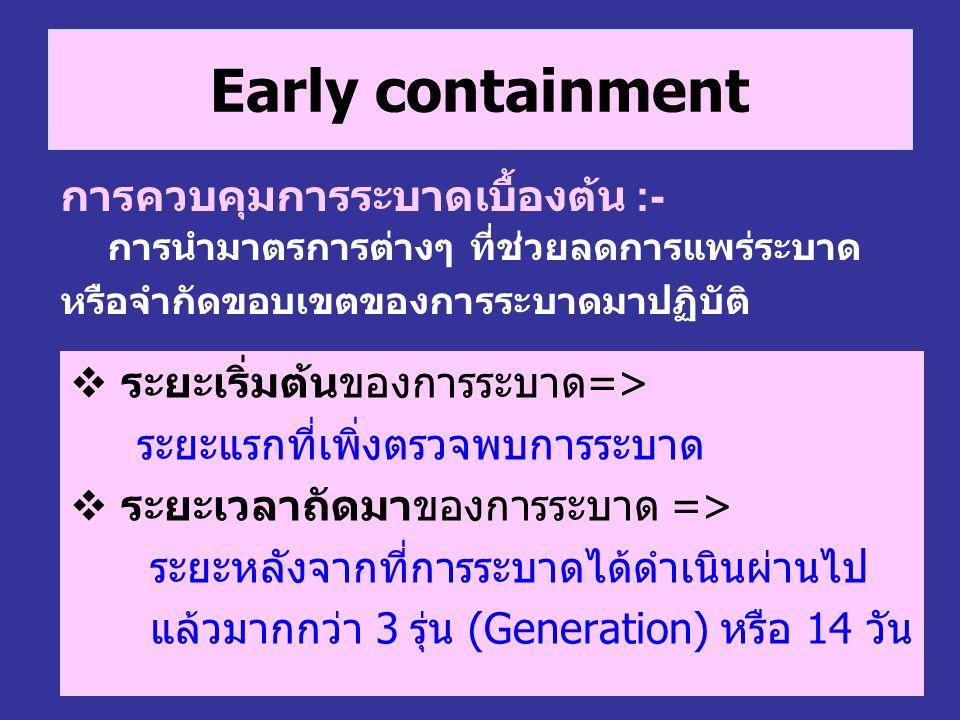Early containment  ระยะเริ่มต้นของการระบาด=> ระยะแรกที่เพิ่งตรวจพบการระบาด  ระยะเวลาถัดมาของการระบาด => ระยะหลังจากที่การระบาดได้ดำเนินผ่านไป แล้วมา