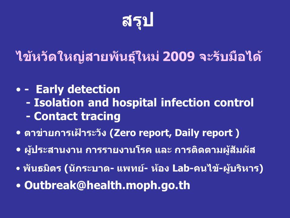 สรุป ไข้หวัดใหญ่สายพันธุ์ใหม่ 2009 จะรับมือได้ • - Early detection - Isolation and hospital infection control - Contact tracing • ตาข่ายการเฝ้าระวัง (