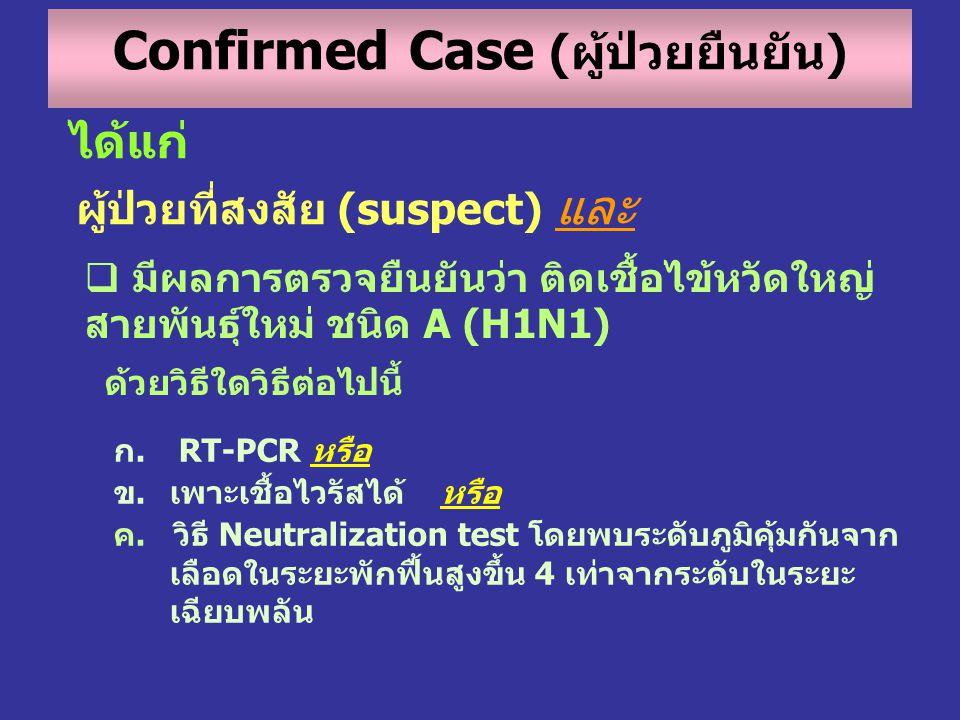 ได้แก่ ผู้ป่วยที่สงสัย (suspect) และ  มีผลการตรวจยืนยันว่า ติดเชื้อไข้หวัดใหญ่ สายพันธุ์ใหม่ ชนิด A (H1N1) ด้วยวิธีใดวิธีต่อไปนี้ ก. RT-PCR หรือ ข.เพ
