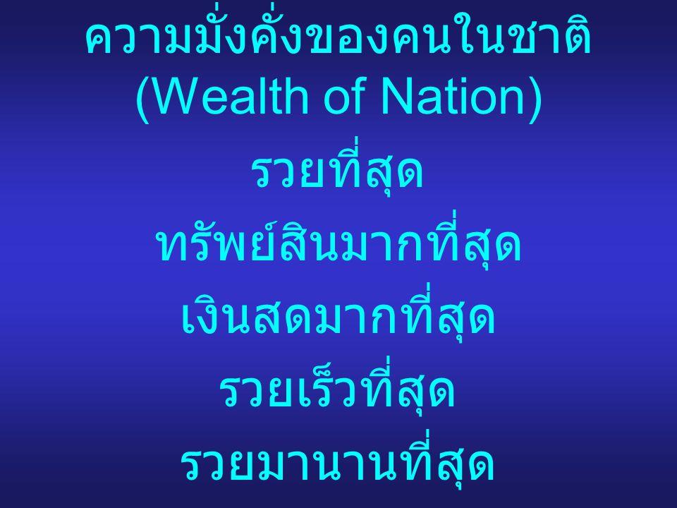 ความมั่งคั่งของคนในชาติ (Wealth of Nation) รวยที่สุด ทรัพย์สินมากที่สุด เงินสดมากที่สุด รวยเร็วที่สุด รวยมานานที่สุด