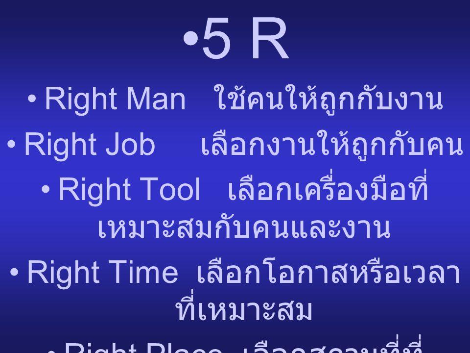 •5 R •Right Man ใช้คนให้ถูกกับงาน •Right Job เลือกงานให้ถูกกับคน •Right Tool เลือกเครื่องมือที่ เหมาะสมกับคนและงาน •Right Time เลือกโอกาสหรือเวลา ที่เ