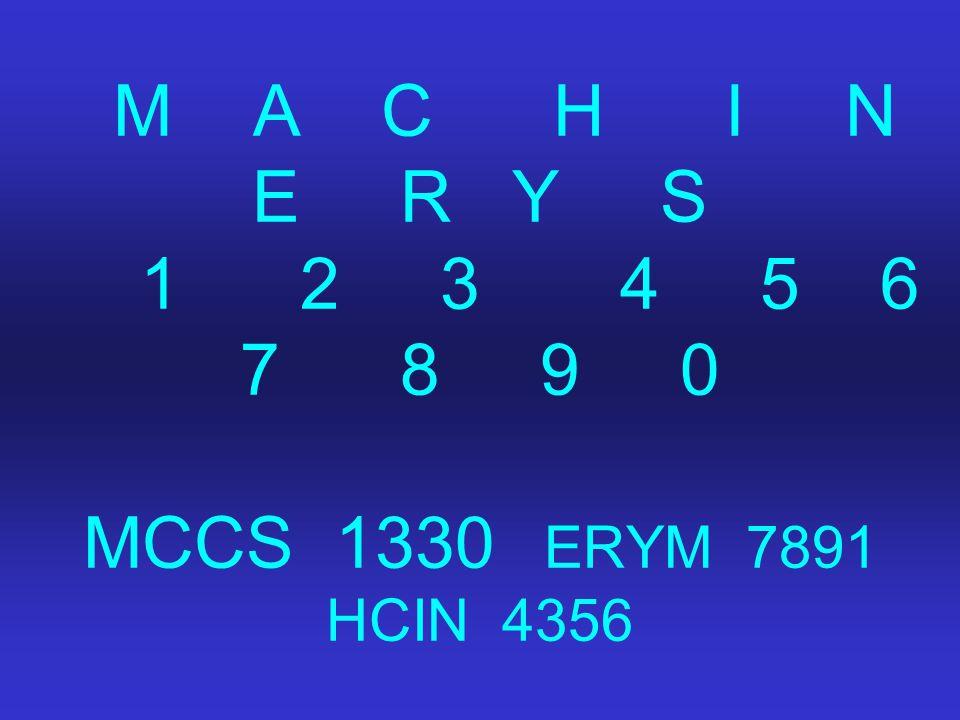M A C H I N E R Y S 1 2 3 4 5 6 7 8 9 0 MCCS 1330 ERYM 7891 HCIN 4356