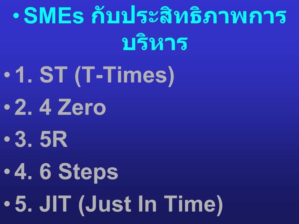 •SMEs กับประสิทธิภาพการ บริหาร •1. ST (T-Times) •2. 4 Zero •3. 5R •4. 6 Steps •5. JIT (Just In Time) •6. JOIN
