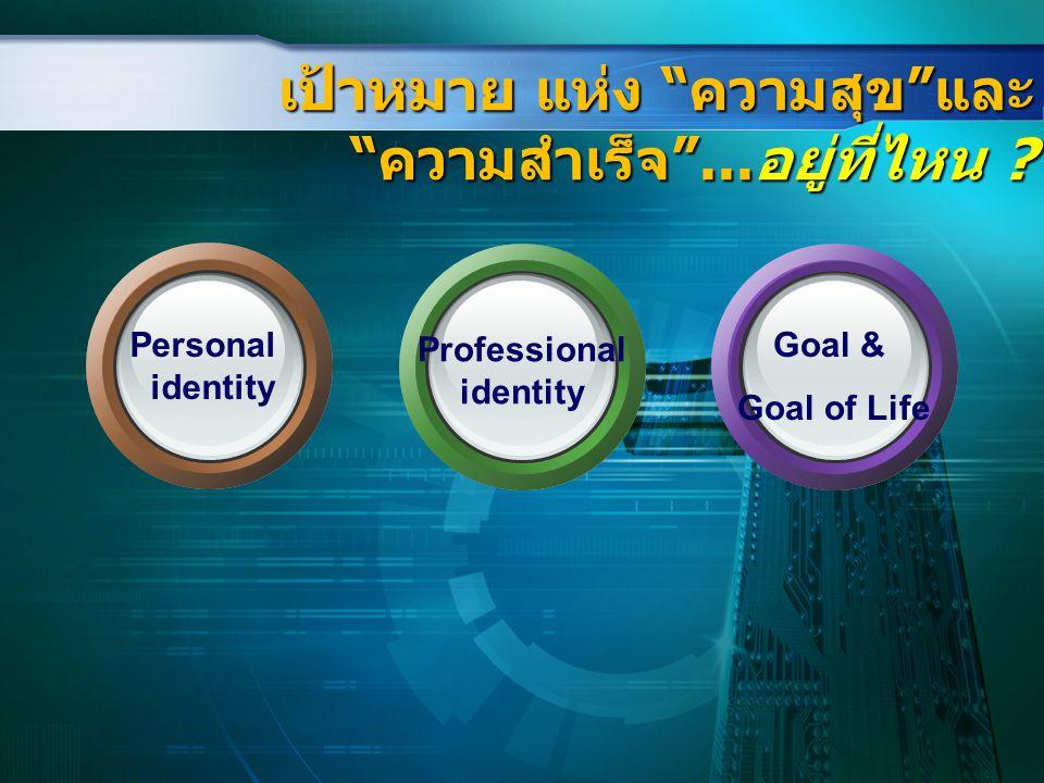 """เป้าหมาย แห่ง """"ความสุข""""และ """"ความสำเร็จ""""...อยู่ที่ไหน ? Personal identity Professional identity Goal & Goal of Life"""