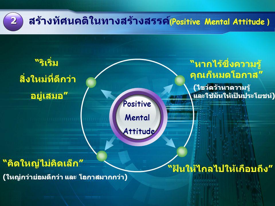 """สร้างทัศนคติในทางสร้างสรรค์ (Positive Mental Attitude ) 2 Positive Mental Attitude """"หากไร้ซึ่งความรู้ คุณก็หมดโอกาส"""" (ไขว่คว้าหาความรู้ และใช้มันให้เป"""