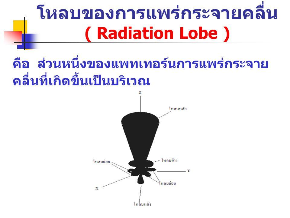 โหลบของการแพร่กระจายคลื่น ( Radiation Lobe ) คือ ส่วนหนึ่งของแพทเทอร์นการแพร่กระจาย คลื่นที่เกิดขึ้นเป็นบริเวณ