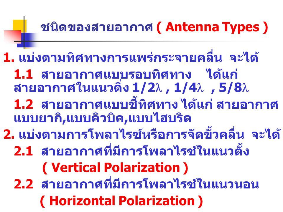 ชนิดของสายอากาศ ( Antenna Types ) 1. แบ่งตามทิศทางการแพร่กระจายคลื่น จะได้ 1.1 สายอากาศแบบรอบทิศทาง ได้แก่ สายอากาศในแนวดิ่ง 1/2 , 1/4 , 5/8  1.2 ส