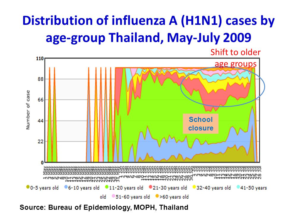 Distribution of influenza A (H1N1) cases by age-group Thailand, May-July 2009 Shift to older age groups Source: Bureau of Epidemiology, MOPH, Thailand